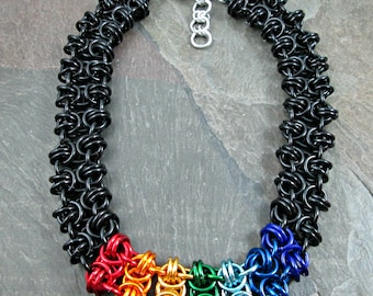 Chainmaille Necklace - Black and Rainbow - Beez to Butterflies - Rainbow Jewelry - Rainbow Chainmaille - Pride Necklace - Chainmail Jewelry