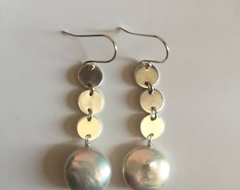Sterling silver tiny disks & Coin pearl earrings/ Pearl 15mm