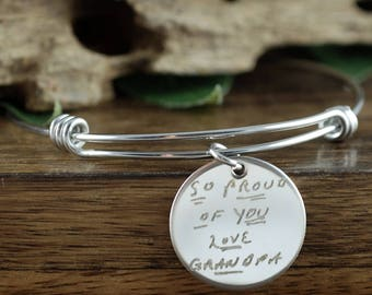 Actual Handwriting Bracelet, Personalized Gift, Personalized Engraved Bracelet, Memorial Jewelry, Sympathy Gift, Loss of Loved One