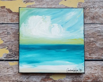 "Seascape Canvas Art | Coastal Painting | Ocean Art | Beach Decor | 6x6 | ""Safe Haven"" | Saltons Cove Studio"