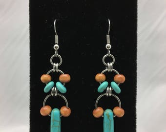 Dyed Turquoise Howlite Spikes with Light Brown Wood Double Hoop Beaded Dangle Earrings