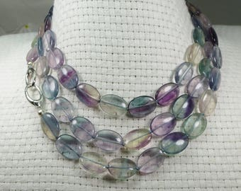 Blue Purple Multi Color Fluorite Rope Sterling Orbit Clasp Necklace Oval Gemstones Sky Beader's Secret Hand Knotted in USA Silky Beads