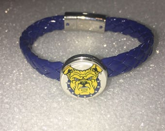 North Carolina A&T State University Aggie Leather Bracelet W/ Glass Beads