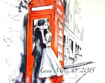 London Kiss Love Watercolor Illustration - Art Print Watercolor Cityscape Romantic Painting - Lana's Art - Wanderlust  London Illustration