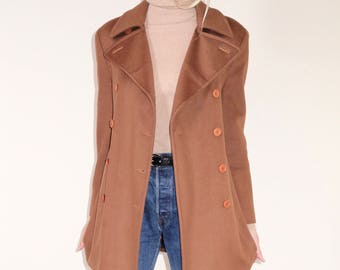Lovely vintage cinnamon wool coat, lined with a matching tie wrap for the waist