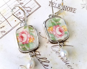 Broken China Jewelry Vintage Yellow Peach Pink Roses Sterling Leverback Earrings