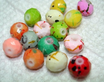 Colorful Splashed Faceted Glass Abacus Beads (Qty 15) - B3117