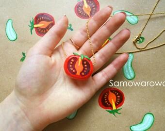 Necklace tomato, jewelry tomato, pendant tomato, jewelry food, jewelry vegetables, red tomato, tomato