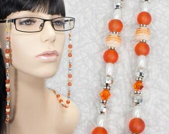 Orange and Silver Eyeglasses Chain / Orange Beaded Glasses Chain