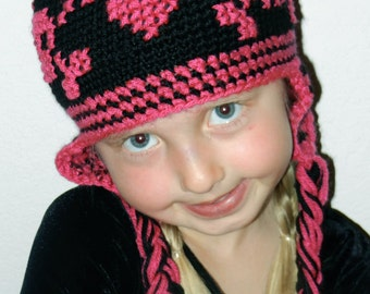 Crochet Hat Pattern - Girl Skull Crochet Hat Pattern - Instant Download