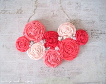 Rosette Statement Necklace,Bib Necklace, Pink Rosette Necklace, Strawberry Punch Statement Necklace, Pink Rosette Necklace,Summer Fashion