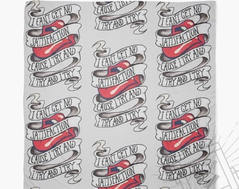 The Rolling Stones Scarf // I cant get no satisfaction lyrics // Rolling Stones Lyrics Scarf // Unusual Stones fan gift // Rolling Stones