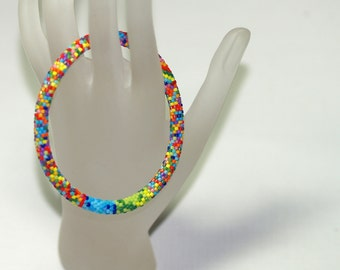 Zuri ... Bracelet . Bead Crochet . Bangle . Multicolor . Colorful . Intricate . Patterned . Bold . Africa Inspired . Rainbow Colors . Ethnic