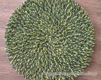 Felt Shag rug round 100cm , dark green shag rug, Round felt ball rugs , felted rugs, Nepal handmade round rug
