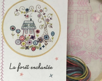 House with drum and yarn Embroidery Kit