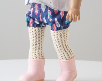 "Doll Knitting Pattern, The Doll Tights PDF Knitting Pattern for 18"" Dolls"