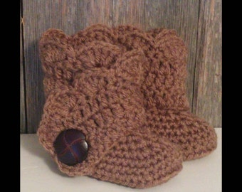 Crochet Baby Ugg Boots - Brown Baby Uggs - Baby Girl Crochet Shoes - Brown Baby Shoes - Crochet Baby Boots