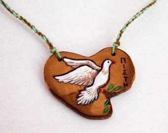Faith necklace, Hand painted Byzantine pigeon necklace, Pigeon symbol of faith pendant, Wooden heart pendant, Handmade pendant and cord