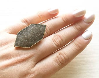 Hexagon Druzy Ring // Druzy Ring // Geometric Ring // Boho Ring // Holiday Ring