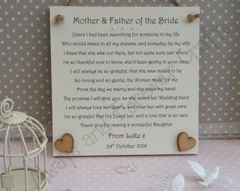 Groom gift, Mother and Father of the Bride, Thank You wedding gift, Mother of the Bride gift, Father of the Bride gift, Thank you from Groom