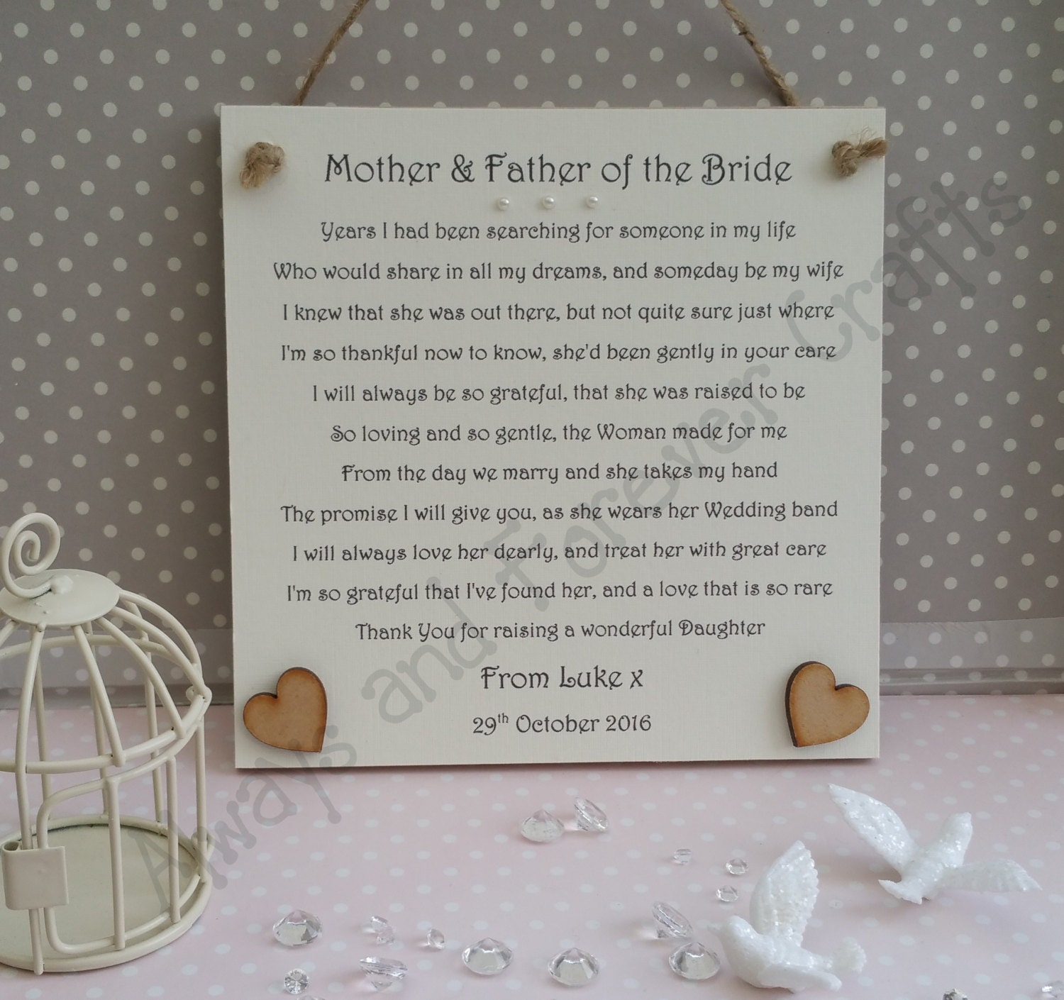Groom gift Mother and Father of the Bride Thank You wedding
