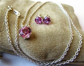 Demi Parure Necklace and Earring Sweetheart Set Lab Grown Pink Sapphires and Sterling Silver