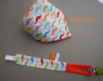 Mustache fabric bandana bib and pacifier clip with personalized