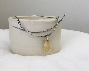 Oxidized Silver and Brass Lunar Drop Necklace