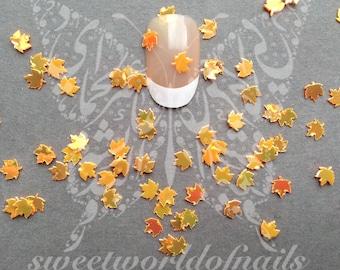 Yellow Autumn mini Leaves Nail Art Fall Decoration