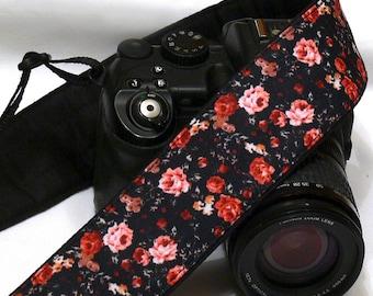 Small Flowers Camera Strap. DSLR SLR Camera Strap. Canon Nikon Camera Strap. Camera Accessories