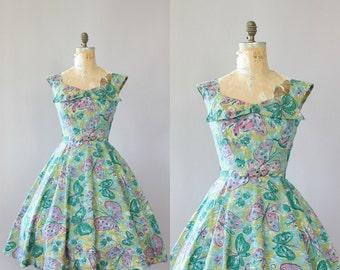 Vintage 50s Dress/ 1950s Cotton Dress/ Alix of Miami Green & Pink Butterfly Print Cotton Dress w/ Belt M