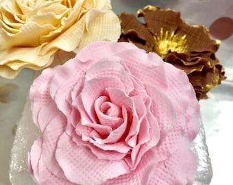 Burlap Flower/Cake Topper/Sugar Flower