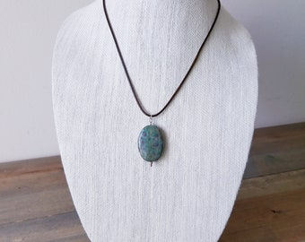 Ruby Fuchsite Oval Pendant Necklace