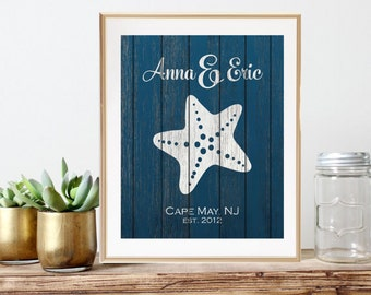 Starfish Wedding Gift For Wife, Nautical Wedding Art, Beach Engagement Gift For Bride, 2nd anniversary Gift For Newlyweds, Established Decor