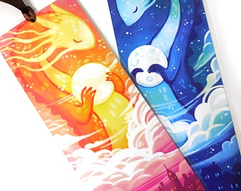 Sun & Moon Dragon Bookmarks, Illustrated bookmark,  unique bookmarks