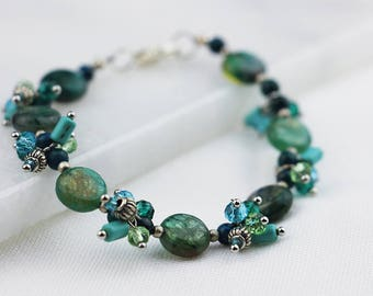 Teal and Silver Dangle Bracelet
