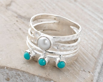 Handmade, Sterling Silver 925 Hammered Turquoise and Freshwater Pearl Ring