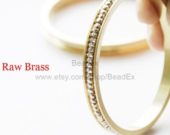 2 Pieces / Raw Brass / Bangle / 60*6*2mm (C1925//S166)