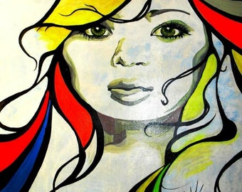 """Title """"Eva-born-meaning"""" modern acrylic portrait painting and ink on cotton canvas."""