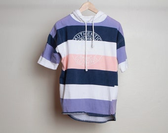 90s STRIPED hoodie t-shirt e.n.u.f. brand pastel size large top shirt