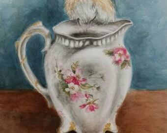 Bluebird on pitcher original watercolor painting