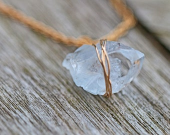 Celeste Crystal Necklace Gold Plated Minimalist Wire Wrapped