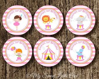 Circus Cupcake topper -  pink circus favor tag - circus birthday - girl circus printable - circus sticker - carnival label - circus label