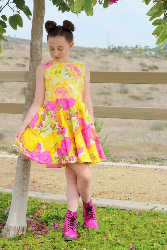 Girls Pink Rose Dress -  Yellow Rose Dress - Twirl Dress - Circle Skirt Dress - Rose Garden - Pink Rose Circle Skirt - Yellow and Pink Dress