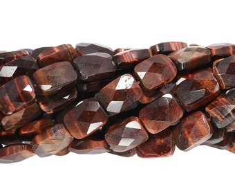 16 IN Strand 10x14 mm Red Tiger Eye Rectangle Shaped Faceted Gemstone Beads (RGEREF1014)