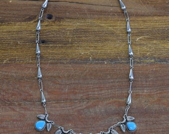 Vintage Turquoise Sterling Silver Feather Necklace