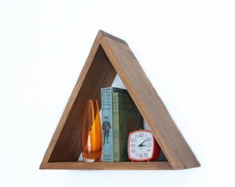 READY TO SHIP - floating triangle shelf - geometric shelves - modern storage - gift for her - gift for him - triangle shelving - minimalist