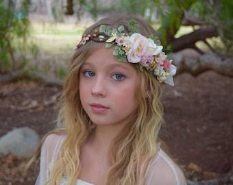Pink, Ivory & Gold Flower Crown - Blush Pink Flower Girl Crown- Photo Prop - Bridal Flower Crown- Blush Hair Wreath - Pink Baby Flower Crown
