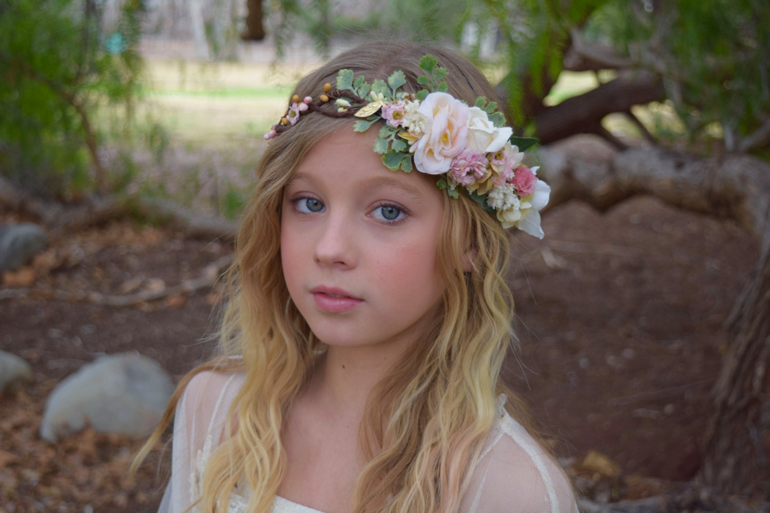 Blush flower crown flower girl crown bridal flower crown zoom izmirmasajfo Gallery