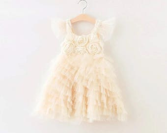 Ruffled Flower Girl Dress